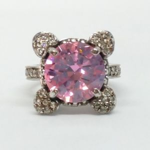 6ct Pink CZ Cross X Ring Sterling Silver